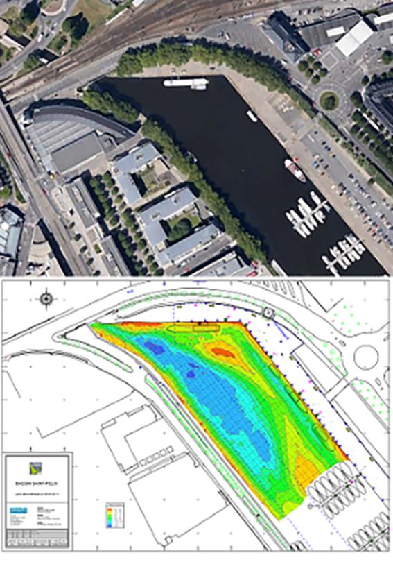 Nantes site visualisation des fonds fluviaux d'un port de plaisance